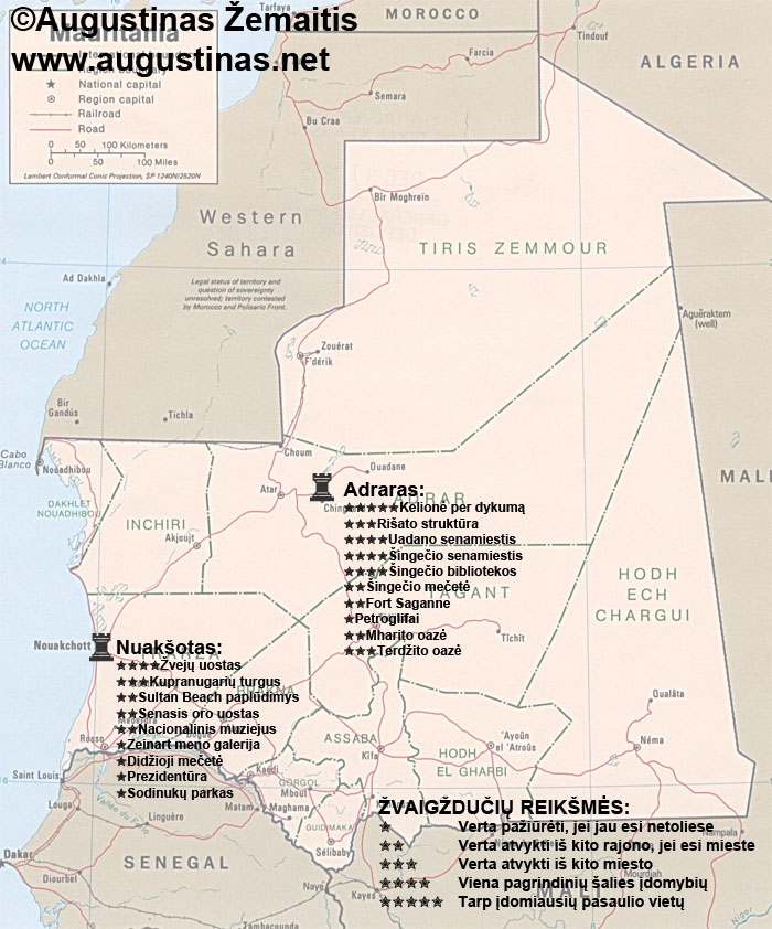 Mauritanijos lankytinų vietų žemėlapis. Galbūt jis padės jums susiplanuoti savo kelionę į Mauritaniją.