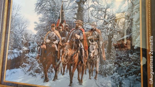Konfederatai eina į karą. Paveikslas Konfederacijos prezidento Džefersono Deiviso bibliotekoje Misisipėje