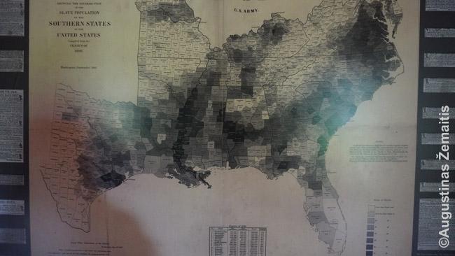 JAV Pietų vergovės žemėlapis. Juodai pažymėtose apygardose daugelis žmonių buvo vergai