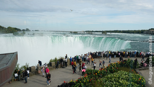 Turistai žavisi Pasagos kriokliu nuo promenados Kanadoje
