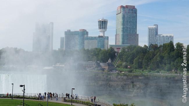 Fallsview viešbučiai Kanadoje žvelgiant nuo Terrapin Point JAV