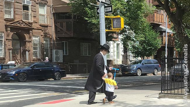 Niujorko žydų ultraortodoksų (hasidų) rajone Brukline. Pastatai turi didelius balkonus lauke švęsti Sukkot šventę