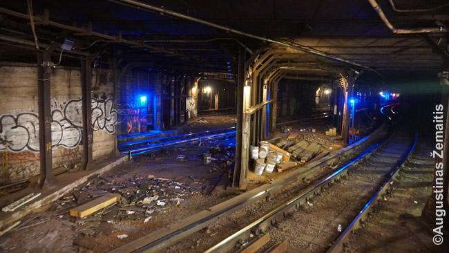 Vaizdas iš metro stoties Niujorke. Ir ne vieną pelę ar žiurkę matėme.