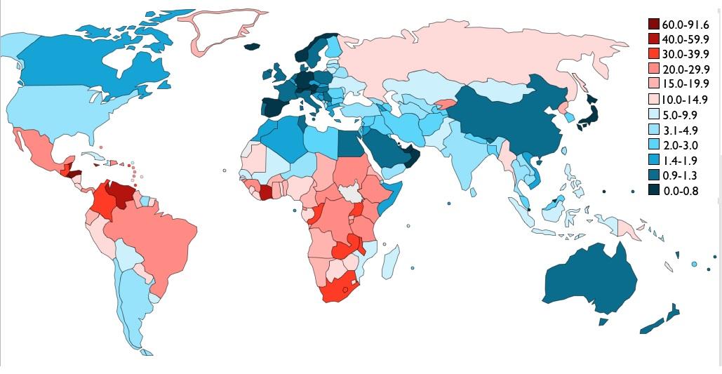 Nužudymų statistika pasaulyje: kuo šalys tamsiau mėlynos, tuo ten saugiau, kuo tamsiau raudonos - tuo nesaugiau.