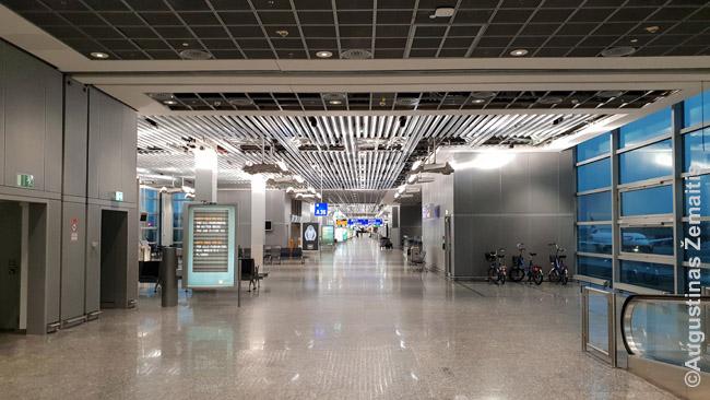 Frankfurto oro uostas penktadienį ~18 val. Kitur atskrenda daug lėktuvų, bet A vartų sektorius – visiškai tuščias