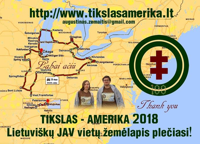 Padėkos atvirukas, kokių kelis šimtus išdalinome visiems Amerikos lietuviams, prisidėjusiems prie ekspedicijos. Atviruke pažymėtas ekspedicijos maršrutas.
