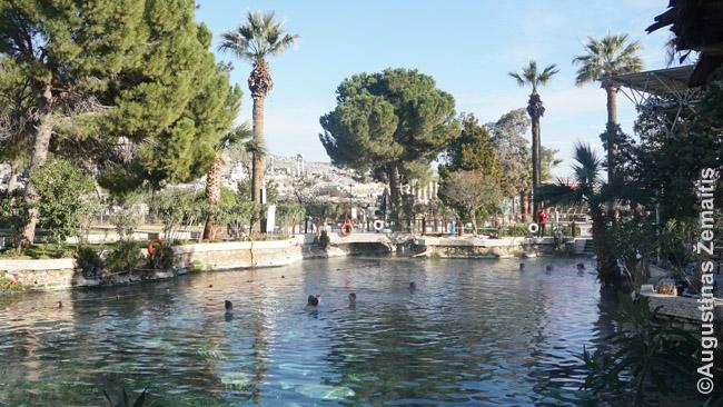 Senovinis Kleopatros baseinas. Pažvelgus geriau, ir nuotraukoje per skaidrų vandenį matosi kolonų liekanos - bet ne visos yra taip negiliai