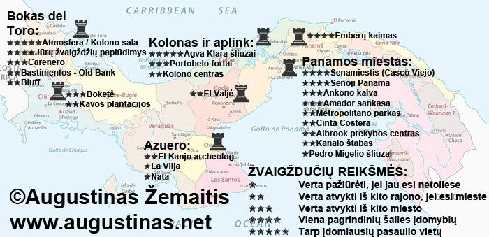 Panamos lankytinų vietų žemėlapis. Viliuosi, jis padės jums susiplanuoti savo kelionę į Panamą