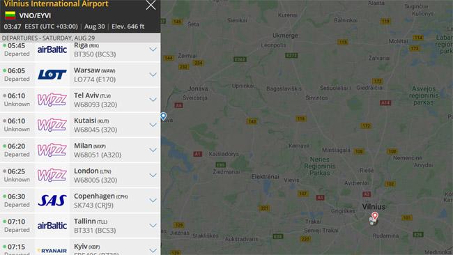 """Flightradar rodomi skrydžiai, kurie rugpjūčio 29 d. vyko iš Vilniaus. Jei parašyta """"Departed"""", skrydis įvyko. Jei """"Unknown"""" - ne. Taigi, skrdyžiai į Rygą, Varšuvą, Milaną, Kopenhagą, Taliną, Kijevą vyko, o į Tel Avivą, Kutaisį, 06:25 Londoną dėl kelionių ribojimų buvo atšaukti visam tam laikotarpiui"""