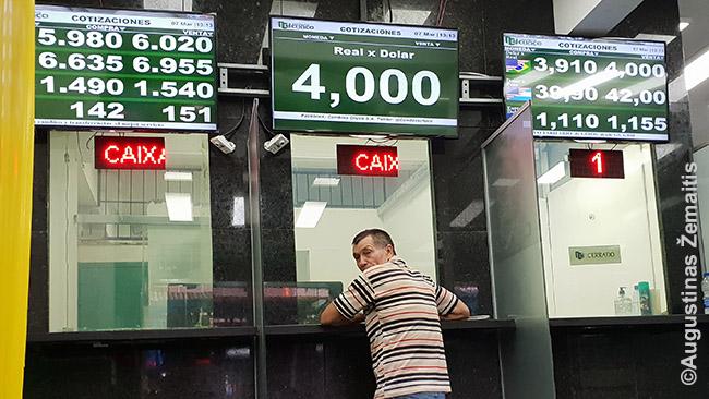 Valiutos keitykla Paragvajuje. Kursai - viršuje kairėje.