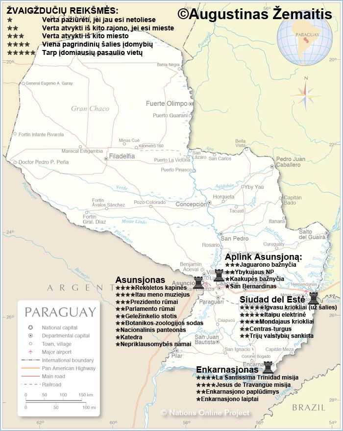 Paragvajaus lankytinų vietų žemėlapis su įvertinimais. Gal jis padės jums susiplanuoti savo kelionę į Paragvajų