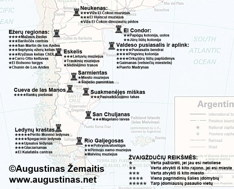 Patagonijos lankytinų vietų žemėlapis. Galbūt jis padės jums susiplanuoti savo kelionę į Argentinos Patagoniją
