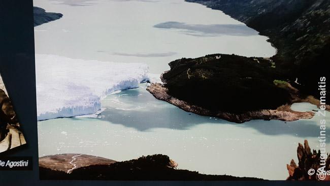 Perito Moreno ledynas ir žemė, kurioje yra visi balkonai su vaizdu į jį