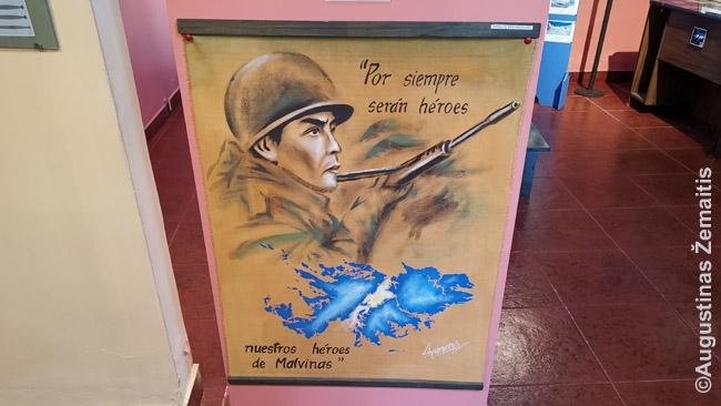 Atsišaukimai apie Malvinus Malvinų karo muziejuje Rio Galjegose