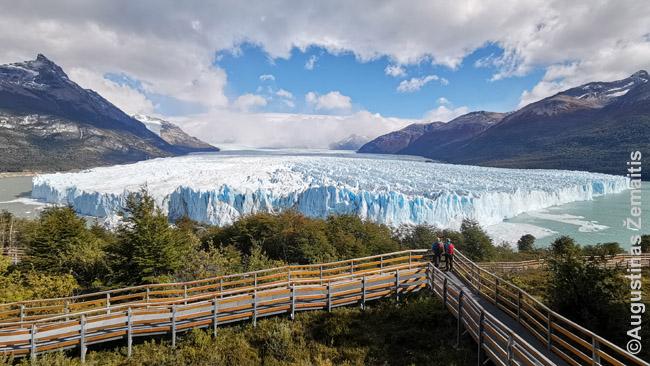 Perito Moreno ledynas žvelgiant nuo pasivaikščiojimo tako