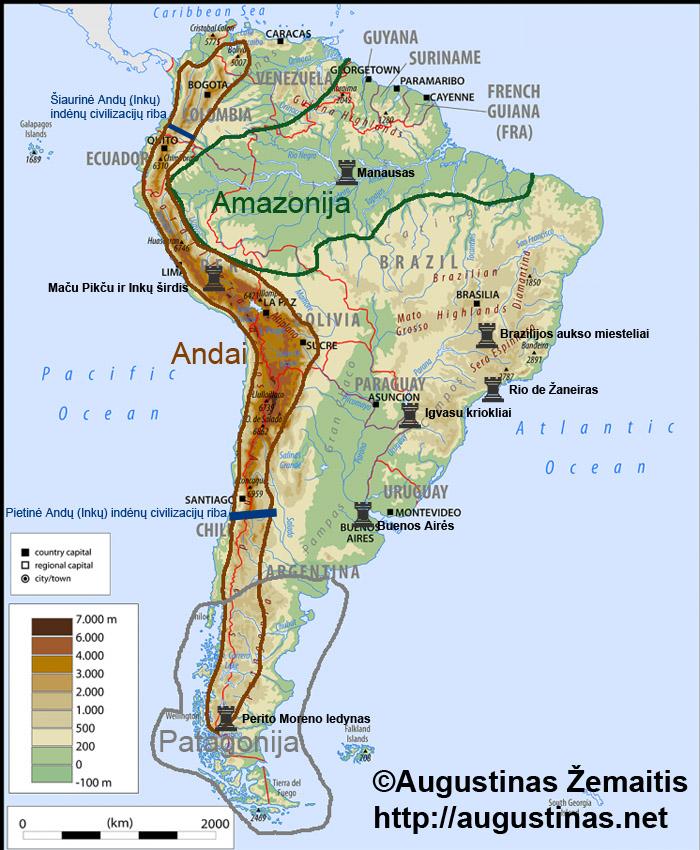 Pagrindinių Pietų Amerikos keliautojams įdomių regionų ir vietų žemėlapis