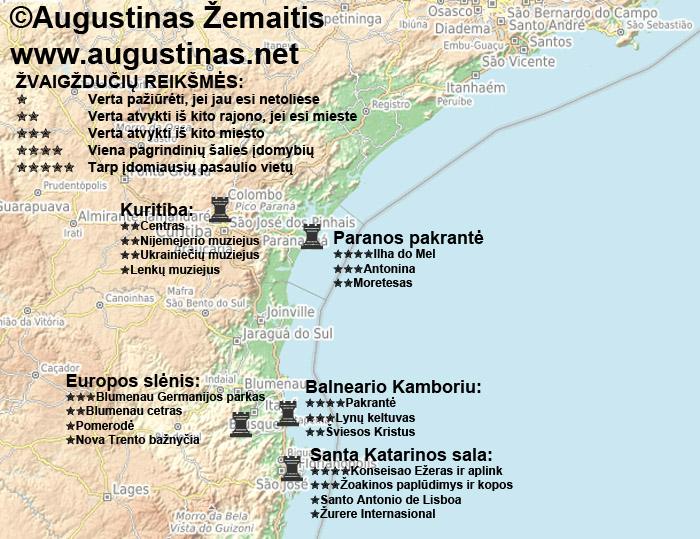 Pietų Brazilijos lankytinų vietų žemėlapis. Galbūt jis jums padės susiplanuoti savo kelionę po Pietų Braziliją