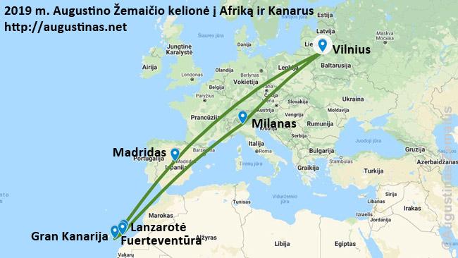 Mano 2018 m. kelionės pigiais skrydžiais maršrutas į Kanarų salas ir atgal