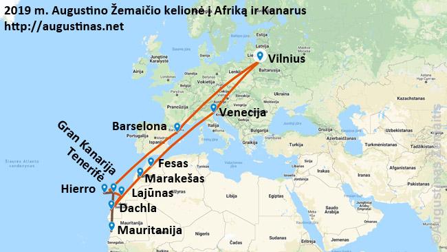 Pilnas 2019 m. kelionės į Afriką ir Kanarus maršrutas