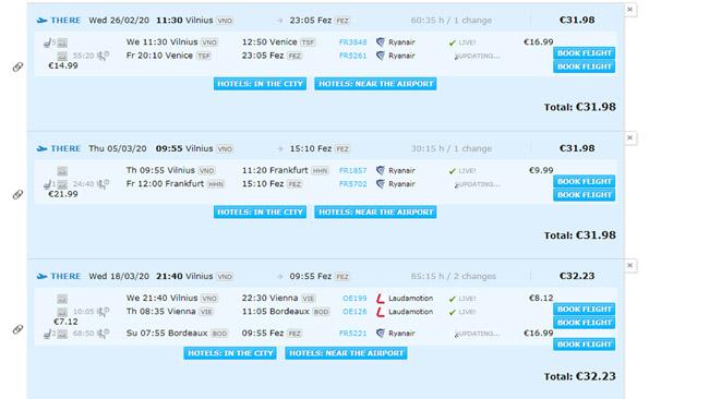 Jau pigiausios trys galimybės nuskristi iš Lietuvos į Maroką, kurias siūlo Azair šiandien - labai įvairios. Už tuos pačius 32 eurus gali ir skristi per Veneciją (su 2 dienom Venecijoje), ir per Frankfurtą (su viena diena Frankfurte) ir per Vieną bei Bordo.