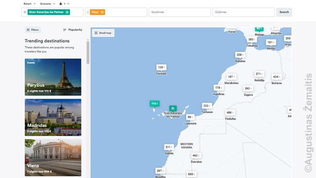 Kiwi.com skrydžių variantai iš Kanarų salų į įvairius Afrikos miestus ir jų kainos