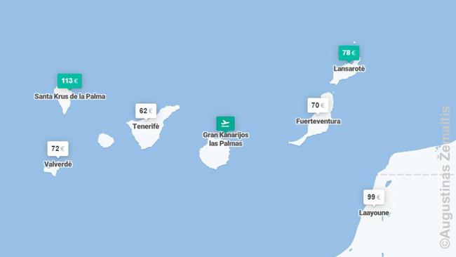 Kiwi.com žemėlapio su skrydžių kainomis į Lajūną bei kitas Kanarų salas fragmentas. Skrydžių kainos - į abi puses. Realybėje galima gauti ir žemesnes, bet nežymiai