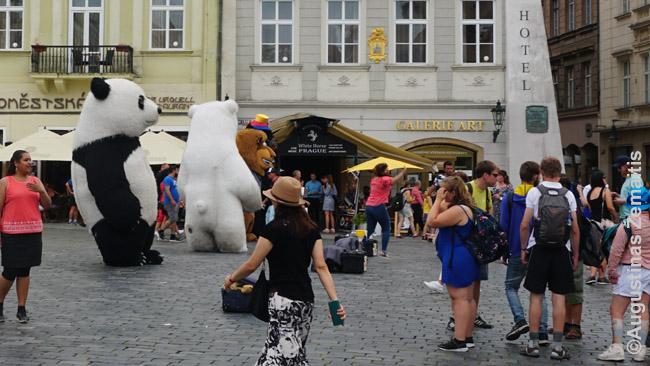 Kinų turistus Prahos Senamiesčio aikštėje gundo fotografuotis 'pandos'