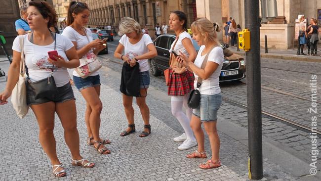 Eilinis mergvakaris netoli Karlo tilto. Vasaros vakarą išėjęs pasivaikščioti tokių galėdavau pamatyti keliolika