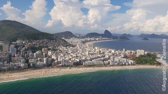 Rio de Žaneiras iš sraigtasparnio. Arčiau - Ipanema, toliau - Kopakabana, tolumoje - Cukraus kalnas