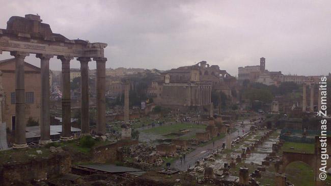 Romėnų miesto griuvėsiai. Nepaskaičius daugiau sunku suprasti, kas ir kaip