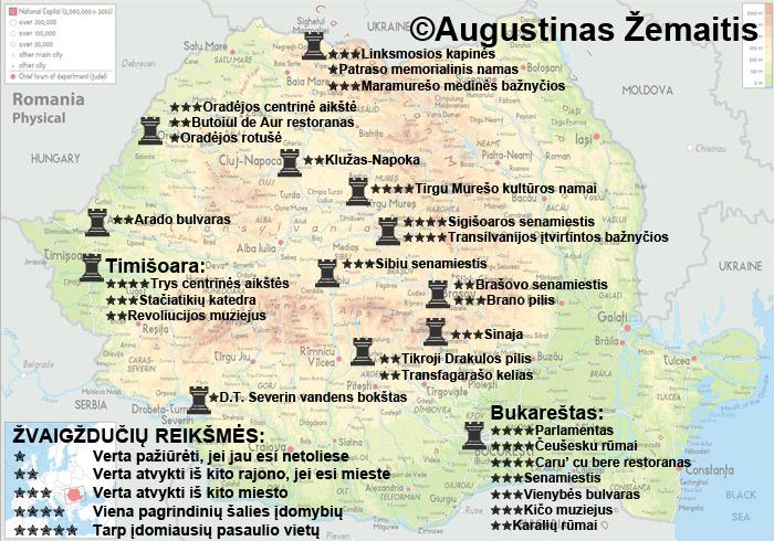 Rumunijos lankytinų vietų žemėlapis ir įvertinimai. Galbūt jis jums padės susiplanuoti savo kelionę į Rumuniją