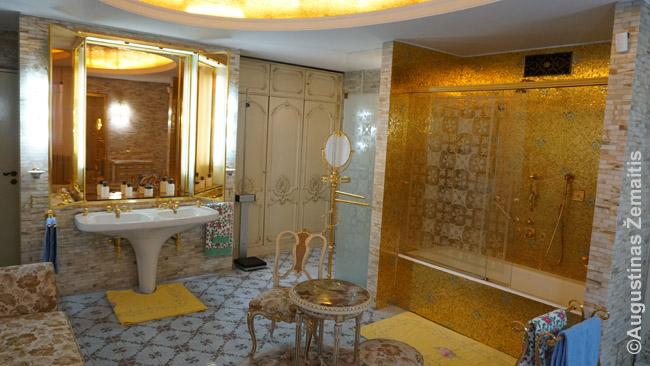 Čeušesku rūmų Bukarešte vonia. Rūmai, beje, turistams atidaryti tik 2016 m.