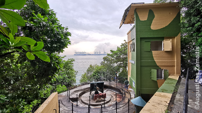 Siloso forto į jūrą atgręžti pabūklai. Atmosferą kuria šūvių garsai, sprogimai: prasideda, kai pro šalį eina turistai.