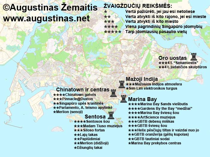 Singapūro lankytinų vietų žemėlapis. Galbūt jis padės jums susiplanuoti savo kelionę į Singapūrą.