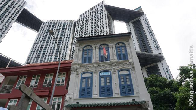 Valdiškas daugiabutis Pinnacle@Duxton iškilęs virš istorinių Singapūro namų