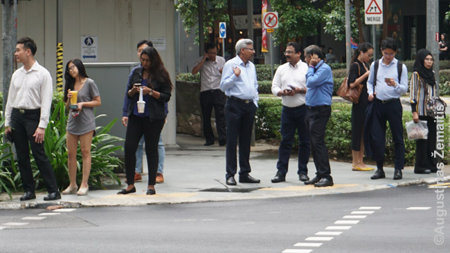 Įvairiataučiai Singapūro žmonės perėjoje