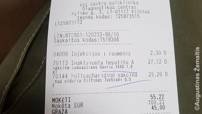 Čekis už skiepus Centro poliklinikoje Vilniuje. Nors tai valstybinė poliklinika, kai kurie skiepai laikomi nebūtinais ir todėl nekomepensuojami, reikia mokėti pačiam. Tai skiepai nuo ligų, kurių iš esmės Lietuvoje nėra ir skiepijamasi tik dėl kelionių