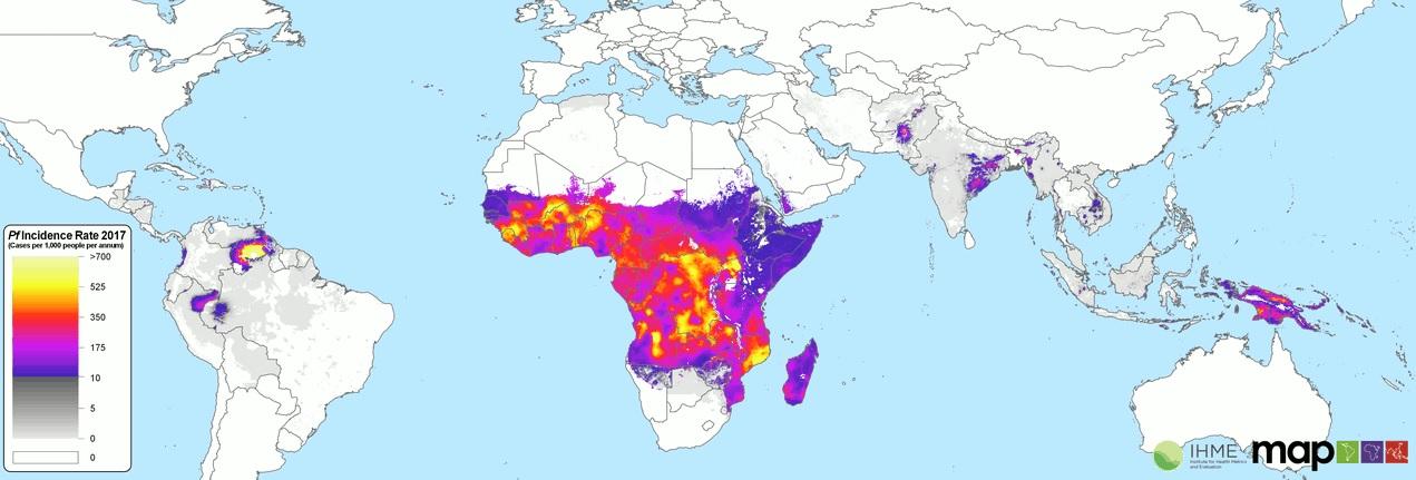 Maliarijos paplitimo žemėlapis.