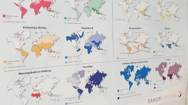 Pavojingų zonų užsikrėsti įvairiomis ligomis žemėlapiai, kabantys poliklinikoje. Afrikoje - visų ligų zonos. Tiesa, žemėlapiai gerai neatskleidžia pavojaus lygio