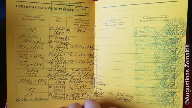 Tarptautinio skiepų paso puslapis su likusiais skiepais