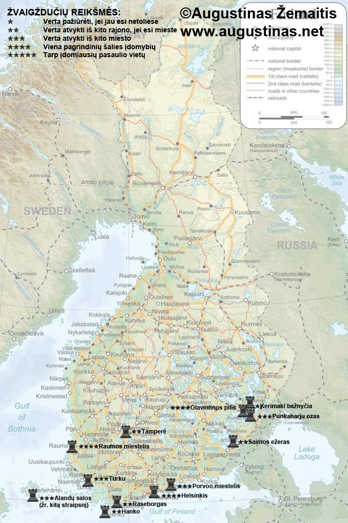 Suomijos lankytinų vietų žemėlapis. Galbūt jis jums padės susiplanuoti savo kelionę į Suomiją