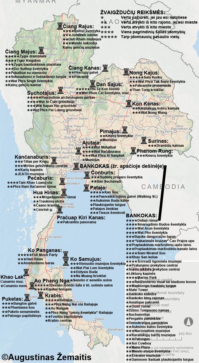 Tailando lankytinų vietų žemėlapis. Žvaigždutės rodo mano nuomonę apie tai, kurios išskirtiniausios. Galbūt šis žemėlapis padės jums susiplanuoti savo kelionę į Tailandą