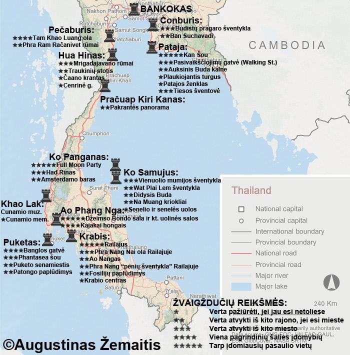 Tailando kurortų žemėlapis ir jų lankytinos vietos. Galbūt tai padės susiplanuoti jums atostogas Tailande ar kelionę į Tailando kurortus.