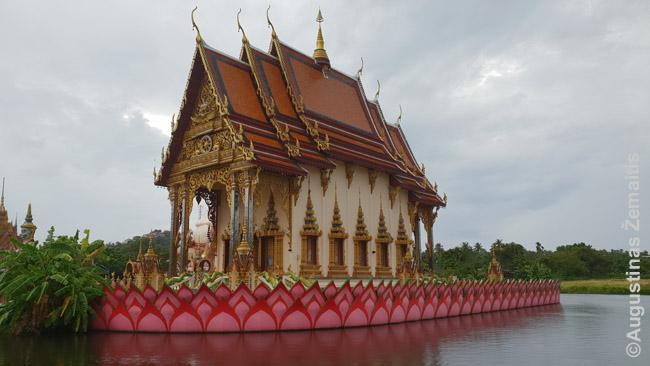 Tailando Ko Samui salos Wat Plai Laem šventyklos vienas pastatų. Kiekviena tajų šventykla - ištisas pasatatų kompleksas