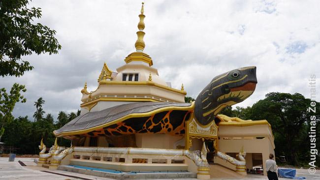Vėžlio šventykla, dar kvepėjusi dažais. Tailande gyvenančiam pažįstamam ji priminė T. Prečeto 'Discworld'