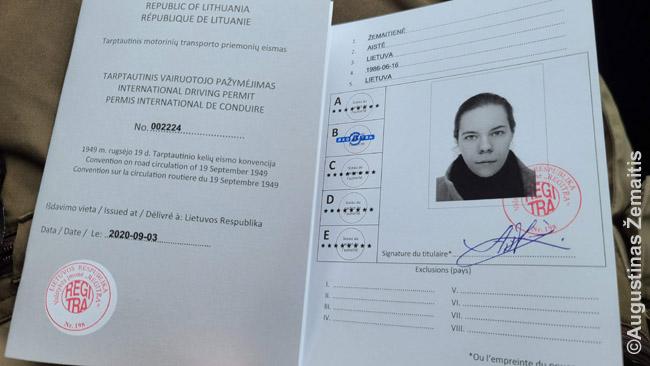 Oficialus Regitroje išduotas tarptautinis vairuotojo pažymėjimas (pagal Ženevos konvenciją). Jį pasidarėme kai suplanavome keliones į Egiptą ir Japoniją. Jis galioja 1 metus.