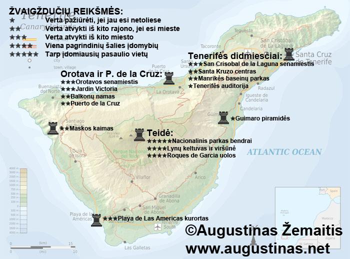 Tenerifės lankytinų vietų žemėlapis. Galbūt jis padės jums susiplanuoti savo kelionę į Tenerifę.