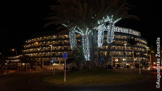 Vienas šimtų milžiniškų viešbučių kompleksų didžiosiose Kanarų salose, kurių dauguma klientų perka atostogų paketus. Nuotrauka daryta viename didžiausių tokių viešbučiųtelkinių - Playa de las Americas kurorte Tenerifėje