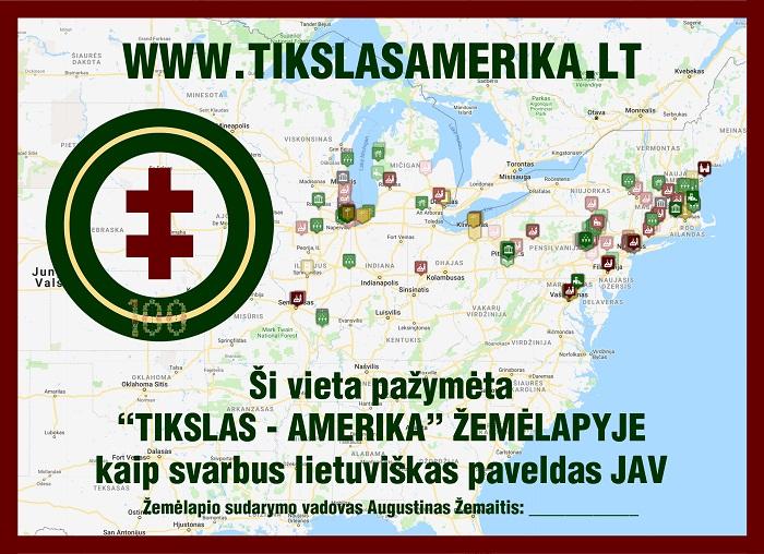 Sertifikatas, liudijantis, kad vieta įtraukta į Tikslas - Amerika žemėlapį. Ant sertifikato - pats žemėlapis