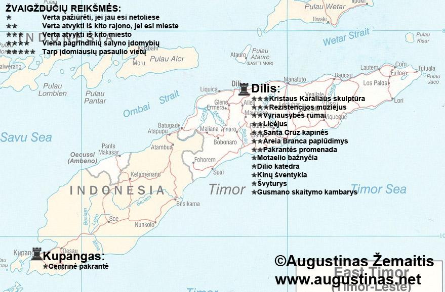 Timoro lankytinų vietų žemėlapis. Galbūt jis padės jums susiplanuoti savo kelionę į Timorą.